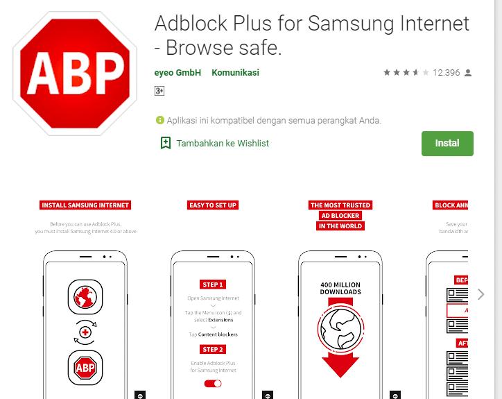 aplikasi AdBlock Plus for Samsung Internet