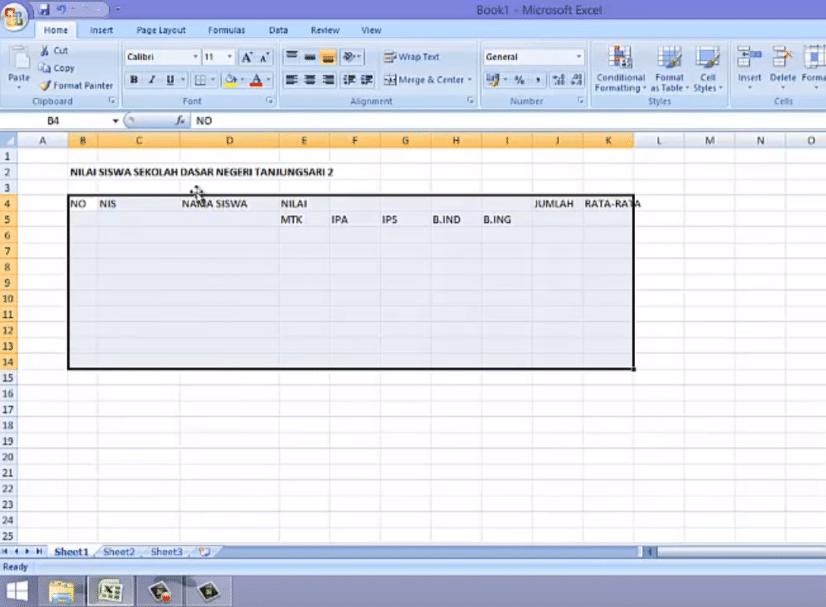 cara kedua tabel di excel 2007 - 1a