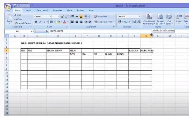 cara kedua tabel di excel 2007 - 3