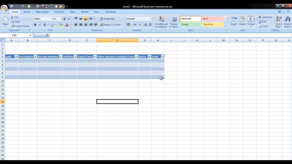 tabel di excel 2007 - 2