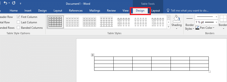 gaya pada tabel 1