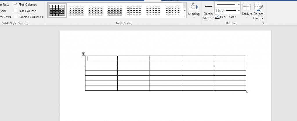tabel kosong 5