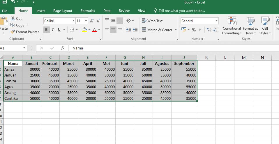 1. Cara Membuat Grafik Excel