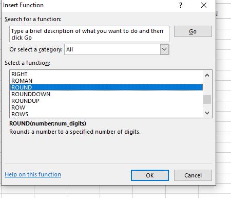 fungsi round excel