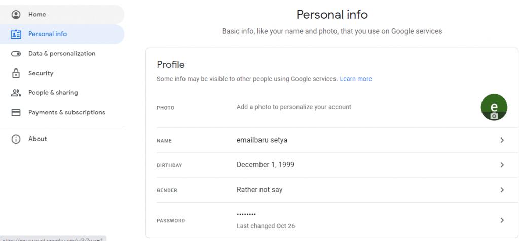 cara ubah sandi google