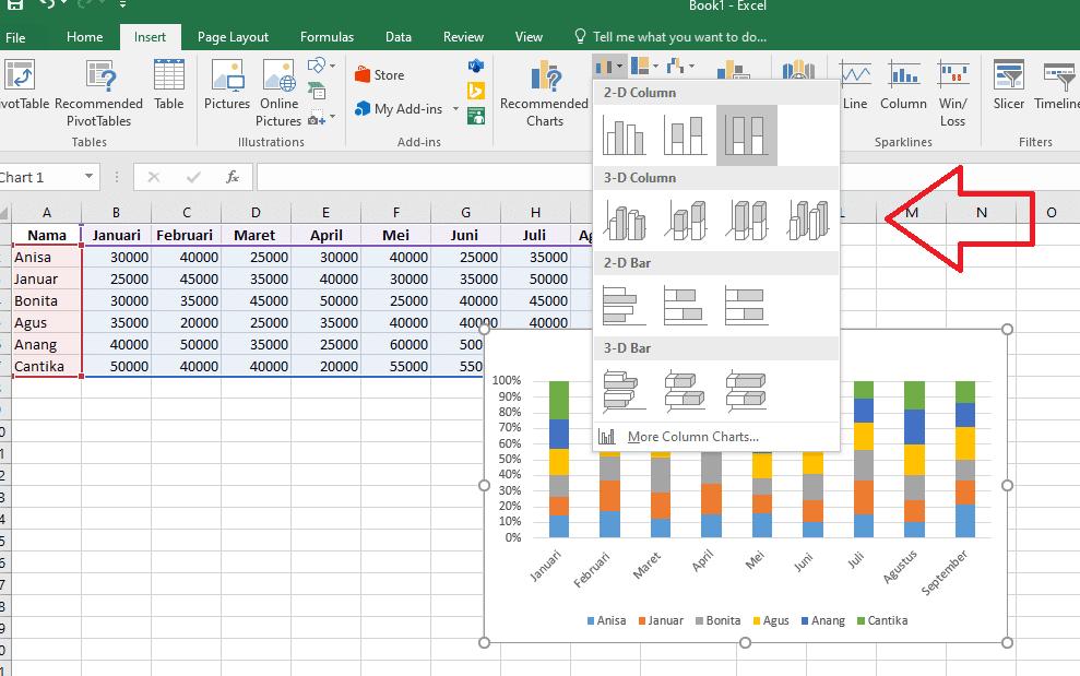 3. Cara Membuat Grafik Excel