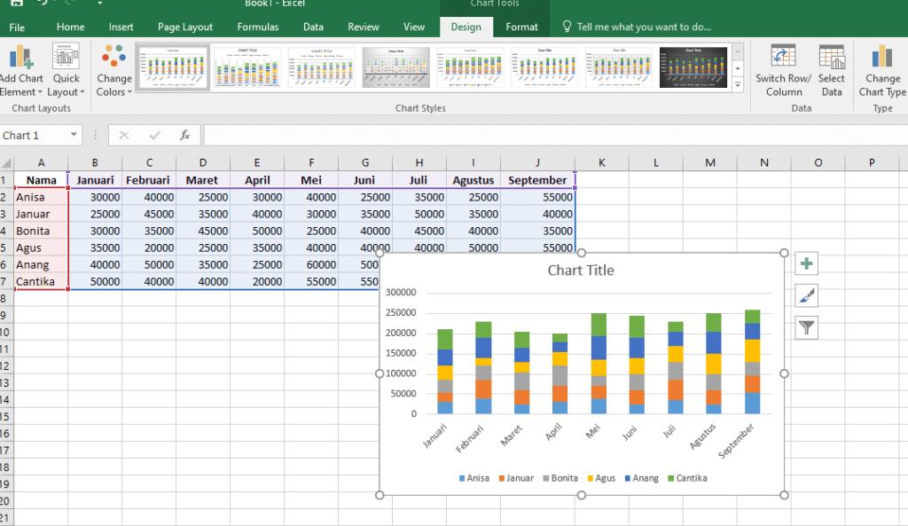4. Cara Membuat Grafik Excel