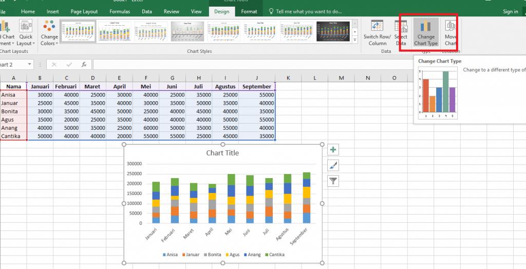 6. Cara Membuat Grafik Excel