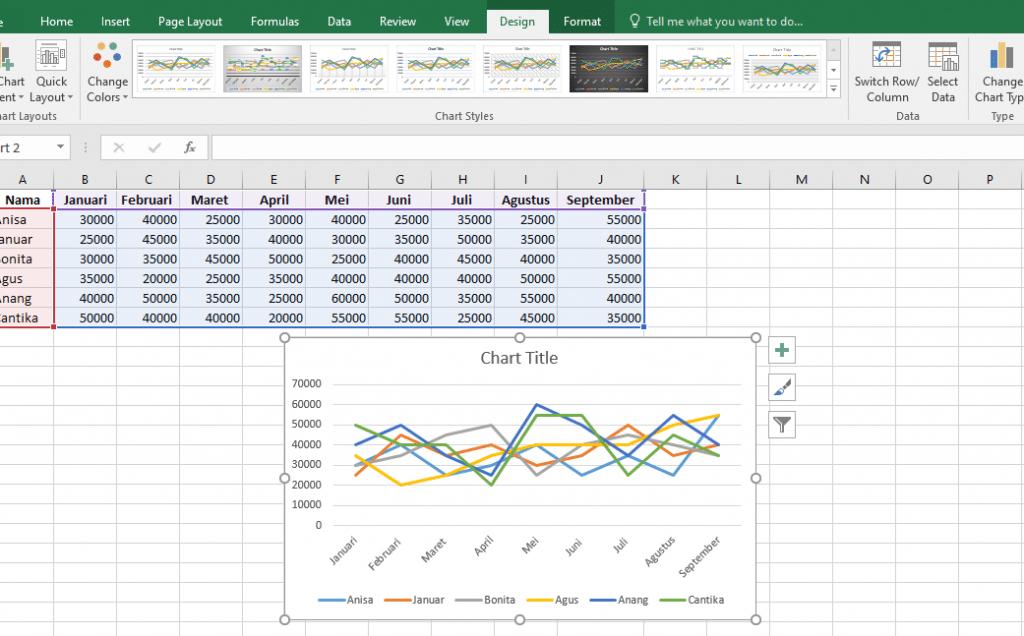 8. Cara Membuat Grafik Excel