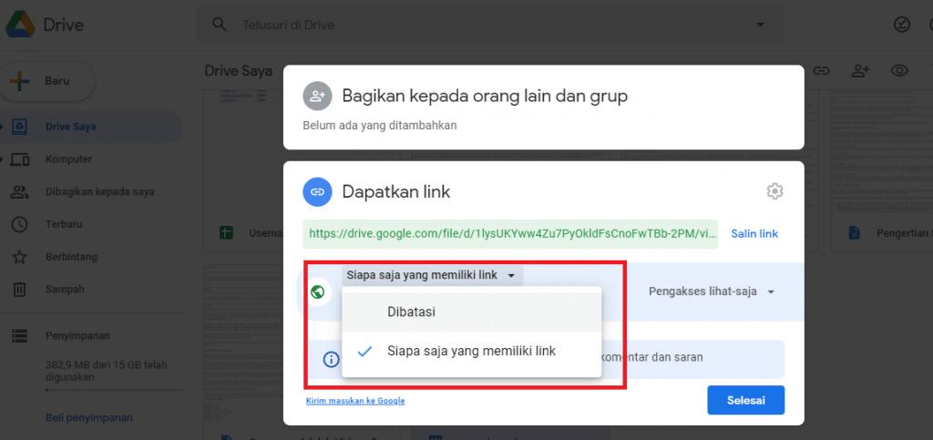 9. cara membuat link google drive