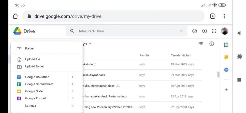 cara upload ke google drive