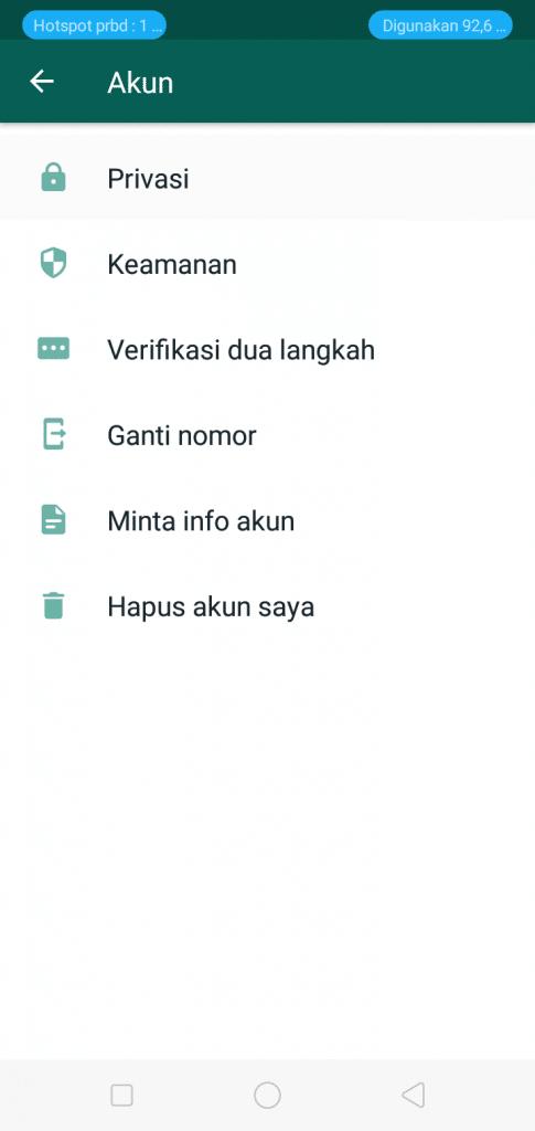 menu Two Step Verification