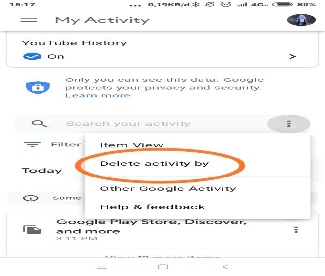delete riwayat pencarian google