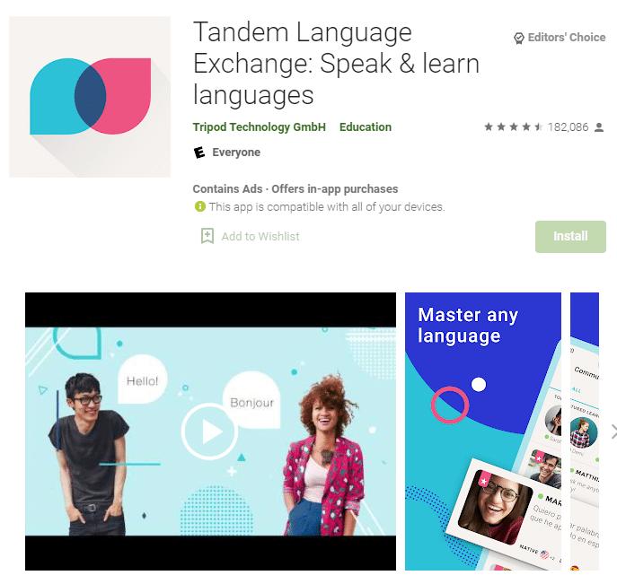 aplikasi tandem language exchange