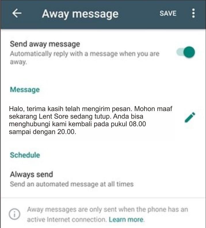 cara membuat pesan otomatis di whatsapp bussines