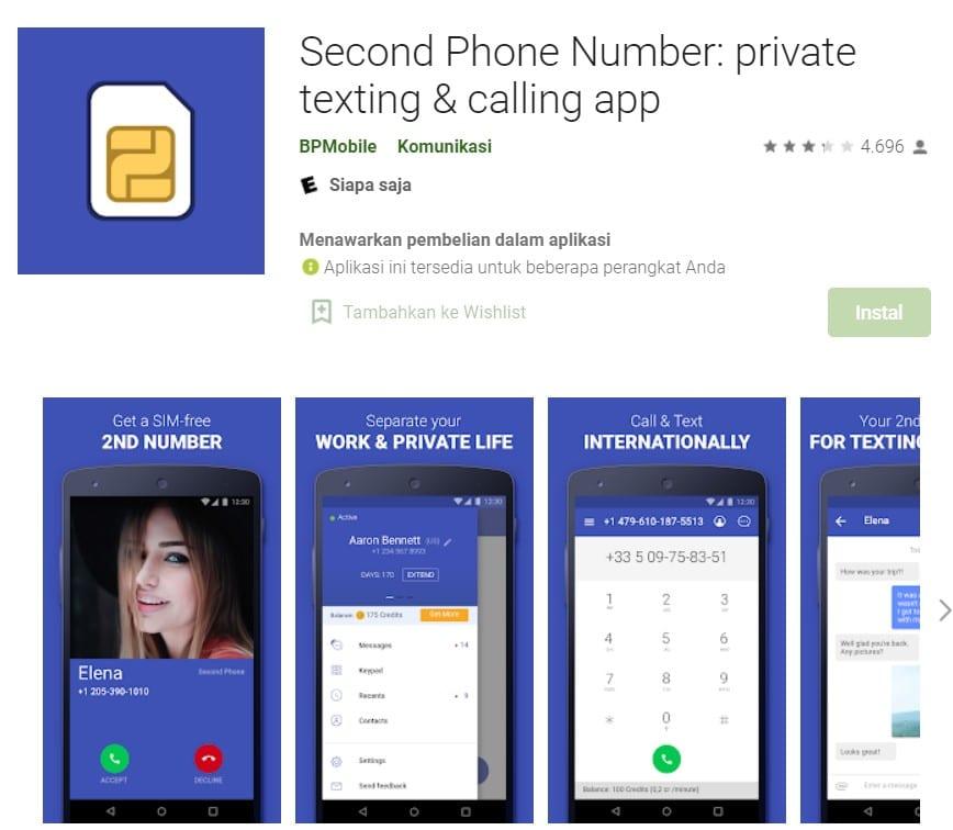 Aplikasi Second Phone Number