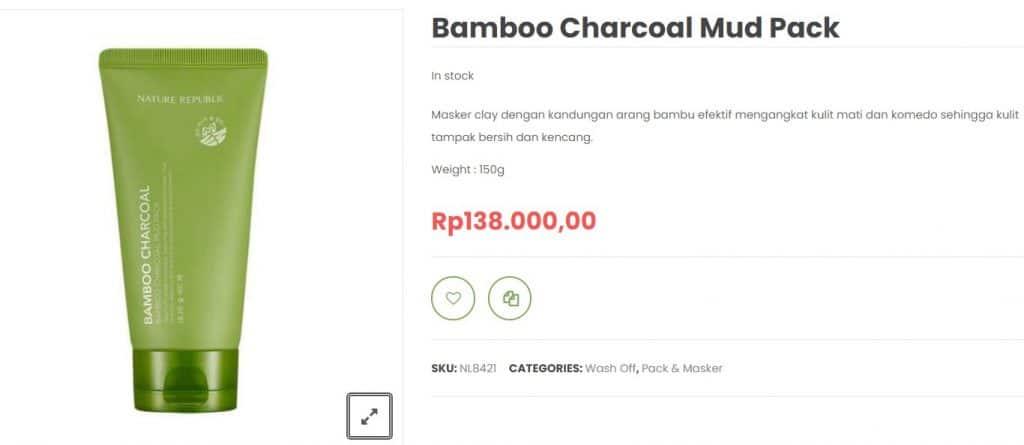 masker Nature Republic Bamboo Charcoal Mud