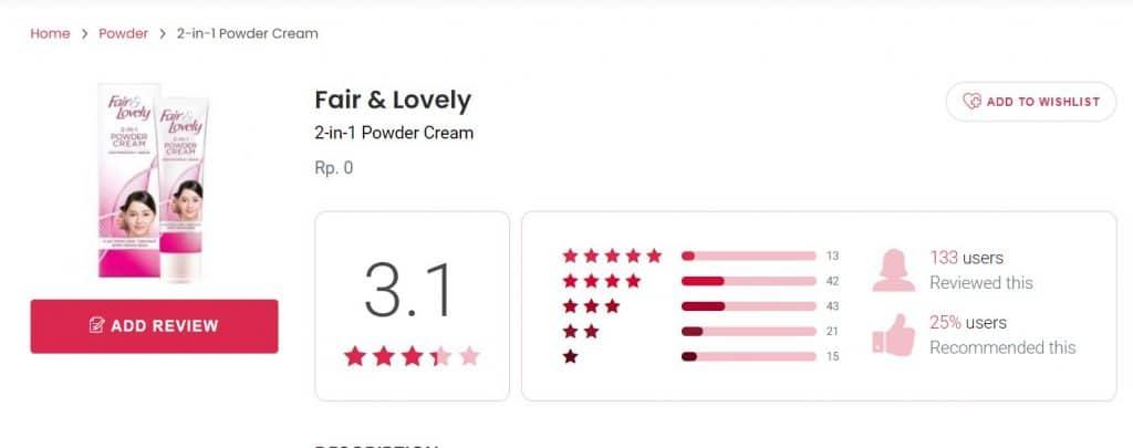 cream fair and lovely